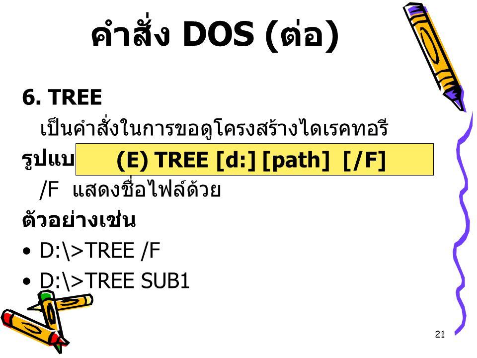 (E) TREE [d:] [path] [/F]